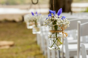 flowers hanging in mason jar