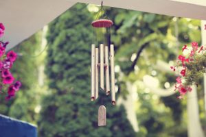 Feng Shui Silver and wood wind chimes
